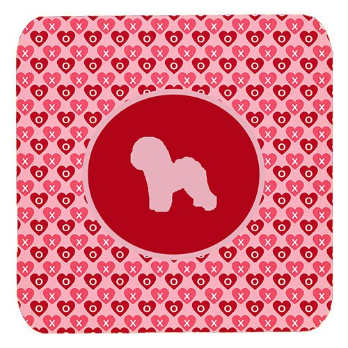 Caroline's Treasures SDK1108-A-FC Bichon Frise Valentine Hearts Foam Coasters (Set of 4), 3.5