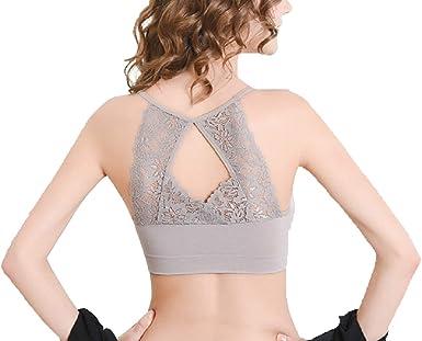 JstBU Valentina Girls Seamless Sports Training Bra Lace Back with Removable Pads