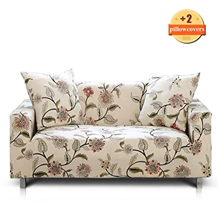 Peachy Ihoming Printed Stretch Sofa Slipcover Loveseat Slipcover Couch Slipcover With 2 Free Pillow Covers 2 3 4 Seat Sofa Covers Loveseat Blossom Unemploymentrelief Wooden Chair Designs For Living Room Unemploymentrelieforg