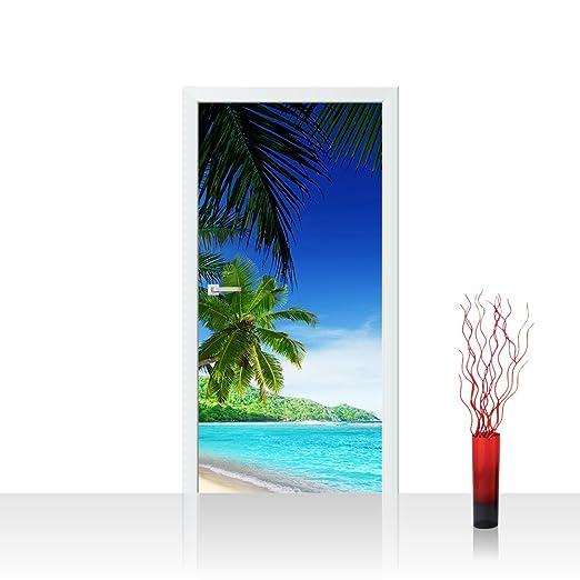 Palmen über dem Meer Türaufkleber 200x90cm Türtapete Türsticker
