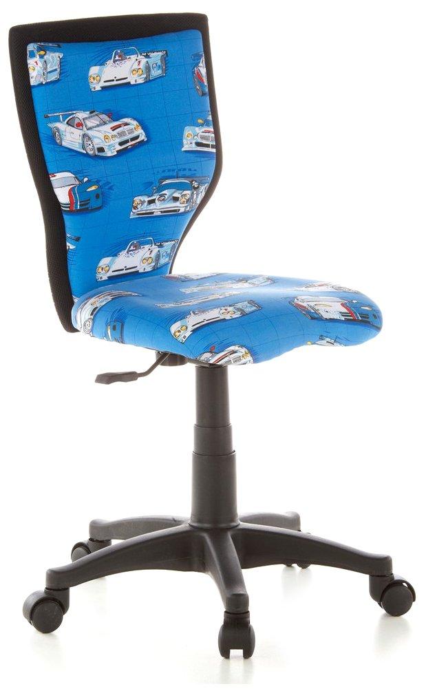 Bleu  hjh OFFICE 670050 chaise de bureau enfant, chaise enfant EnfantDY LUX motif voitures sans accoudoirs, dossier ergonomique, réglable en hauteur, tissu en maille, résistant et antitÂches, pièteHommest stable