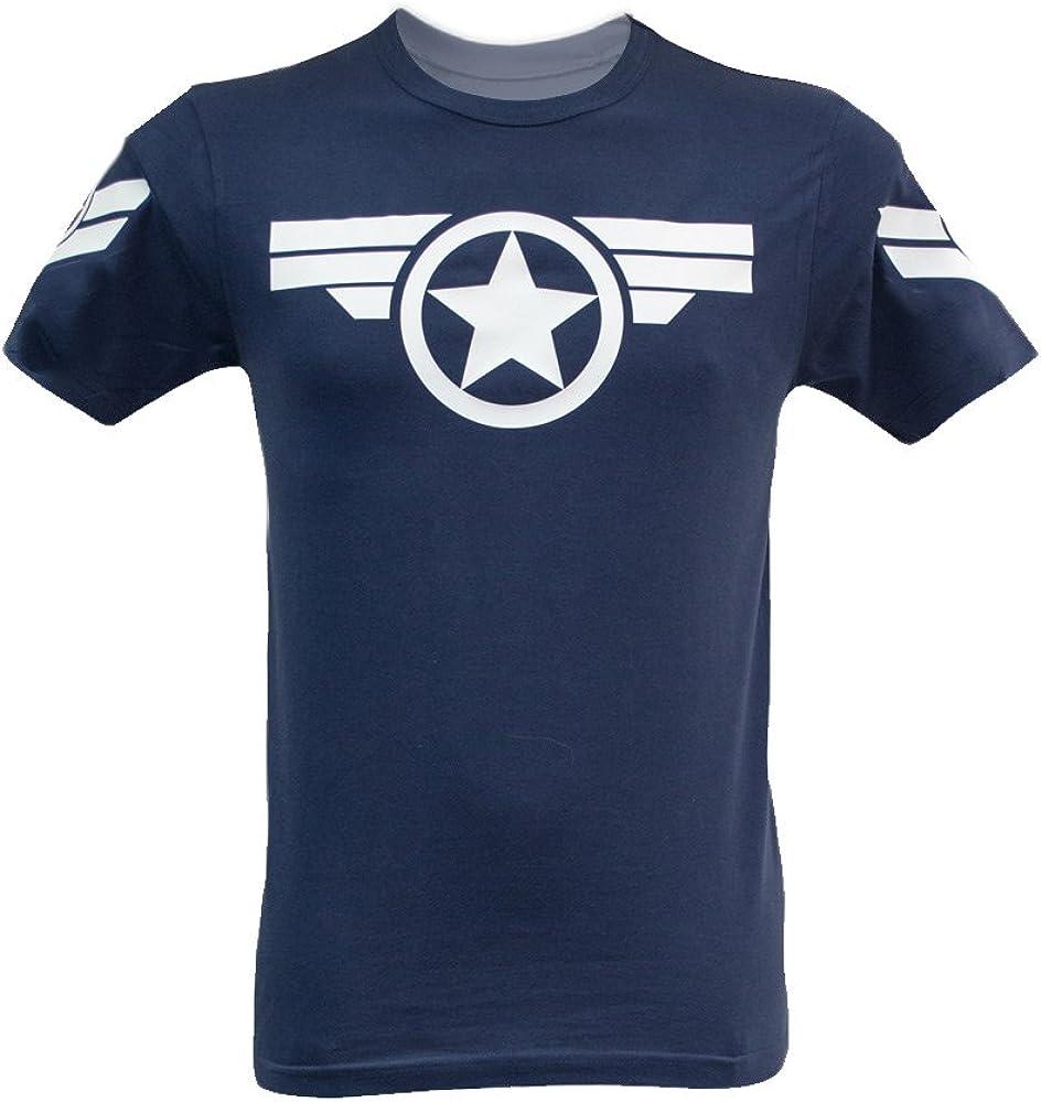 Camiseta para hombre, diseño de Capitán América, de Marvel – Steve Rogers Super Soldier Azul azul marino S: Amazon.es: Hogar