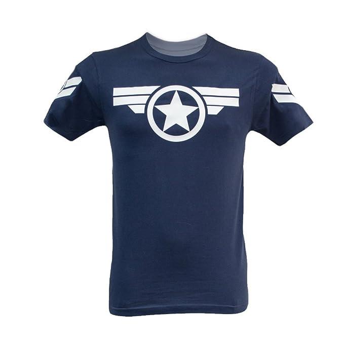 68b91cc0356ba Camiseta para Hombre Capitán América Uniforme Marvel - Steve Rogers Super  Soldier  Amazon.es  Hogar