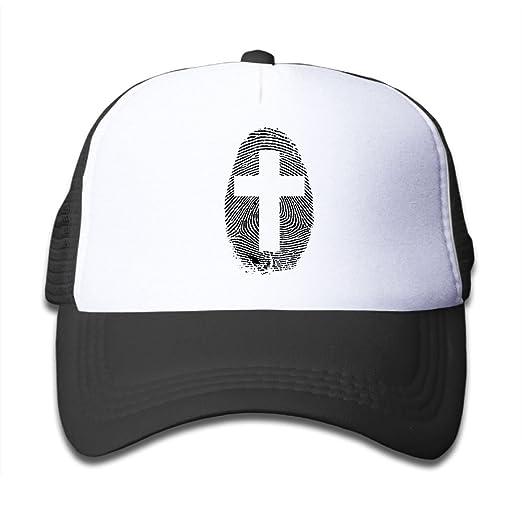 57462697b15 Classic Cross Fingerprint Kids Adjustable Mesh Hats For Boys Girls Child  Cotton Hip Hop Trucker Baseball Caps Snapback at Amazon Men s Clothing  store