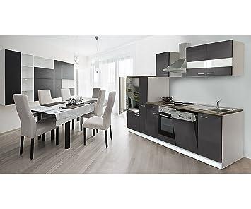 respekta Küchenleerblock 310 cm weiß Fronten Grau ...