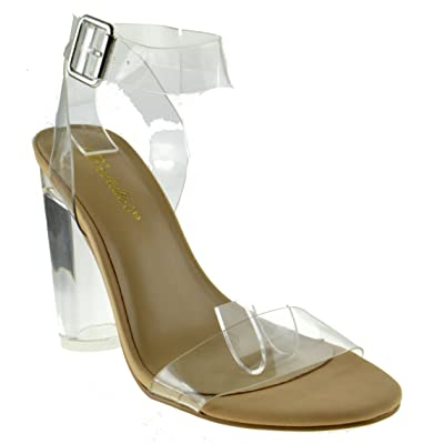 Vienna 01 Womens Clear Chunky Heel Ankle Buckle Platform Sandals