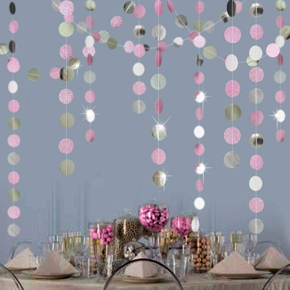 Decor365 Glitter Pink and Silver Circle Dot Garlands Twinkle Little Star Garlands Polka Dots Streamer/Backdrop/Bunting for Girls Birthday Party Hanging Decor/Baby Shower/Wedding/Room Decorations