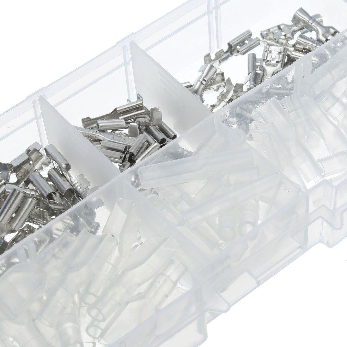2.8mm 4.8mm 6.3mm Crimp Terminals Female Spade Connectors Insulating Sleeve Kit