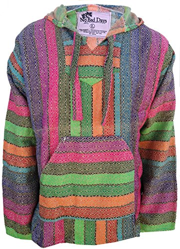 No Bad Days Baja Hoodie Mexican Poncho -Earthened Pastel Rainbow (SMALL)