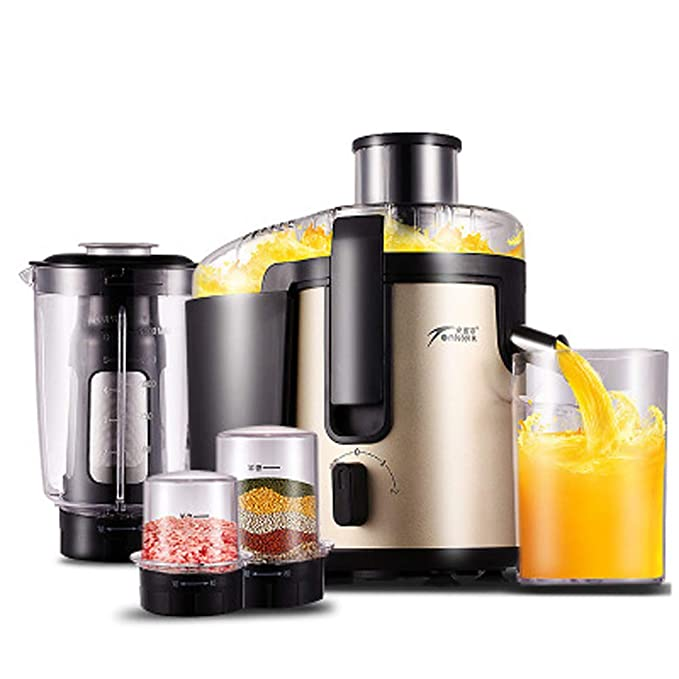 WGFGXQ High-Power Juicer, Multi-Function Stainless Steel Fruit Juicer, Suitable Home Use,Champagnegold,1.5L