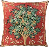 Home Furnishings, Orange Tree French Tapestry Cotton Throw Pillow Case, Hand Finished Cushion Cover, 19 by 19 Inch