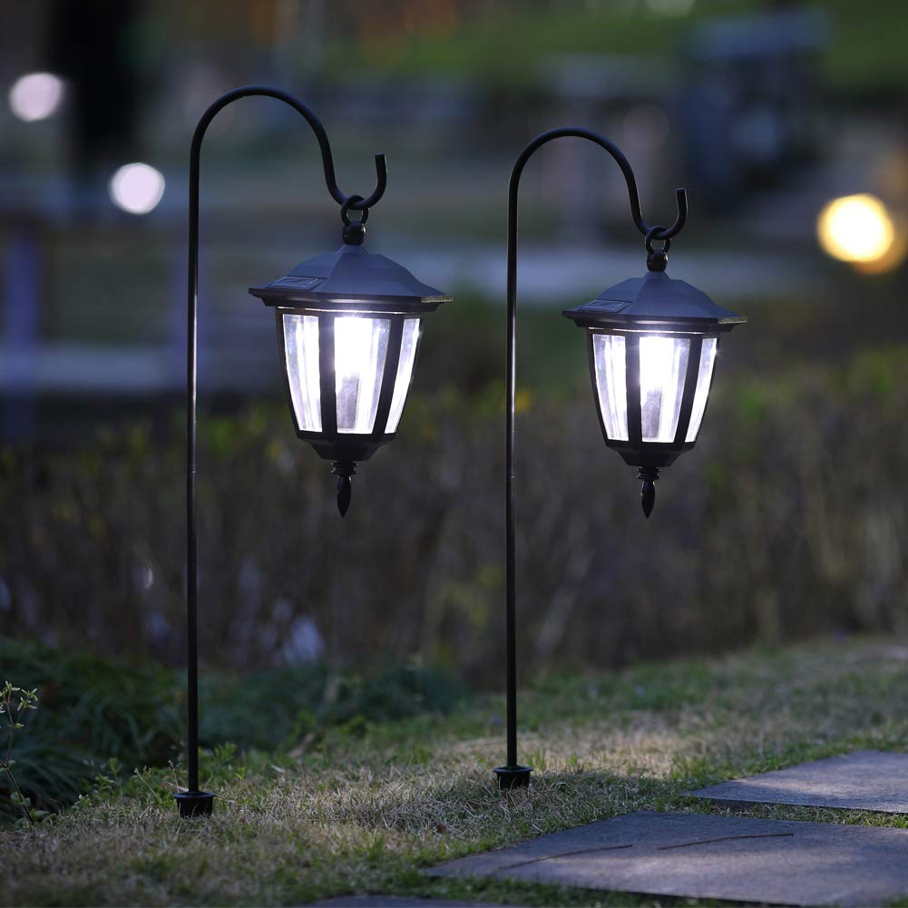 MAGGIFT 26 Inch Hanging Solar Lights Dual Use Shepherd Hook Lights with 2 Shepherd Hooks Outdoor Solar Coach Lights, 2 Pack by MAGGIFT