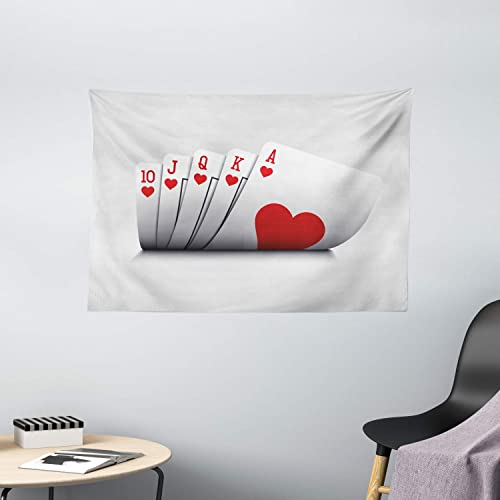 Ambesonne Poker Tournament Tapestry, Royal Flush Playing Poker Cards Hearts Betting Bluff Gambling Winning, Wide Wall Hanging for Bedroom Living Room Dorm, 60 X 40 , Red and White