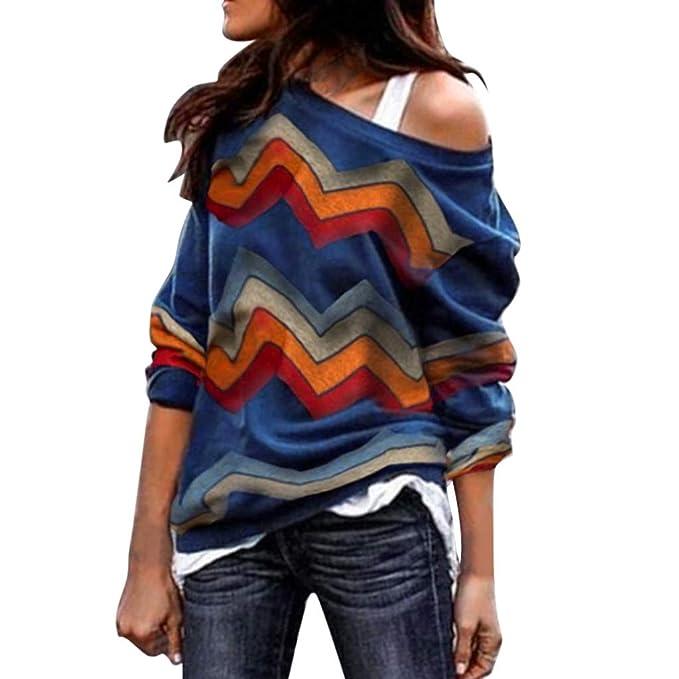 SuéTer Ropa tee T Shirt Mujeres Un Hombro Camisa con Tirantes Empalme Color Outwear Naturazy Sudaderas