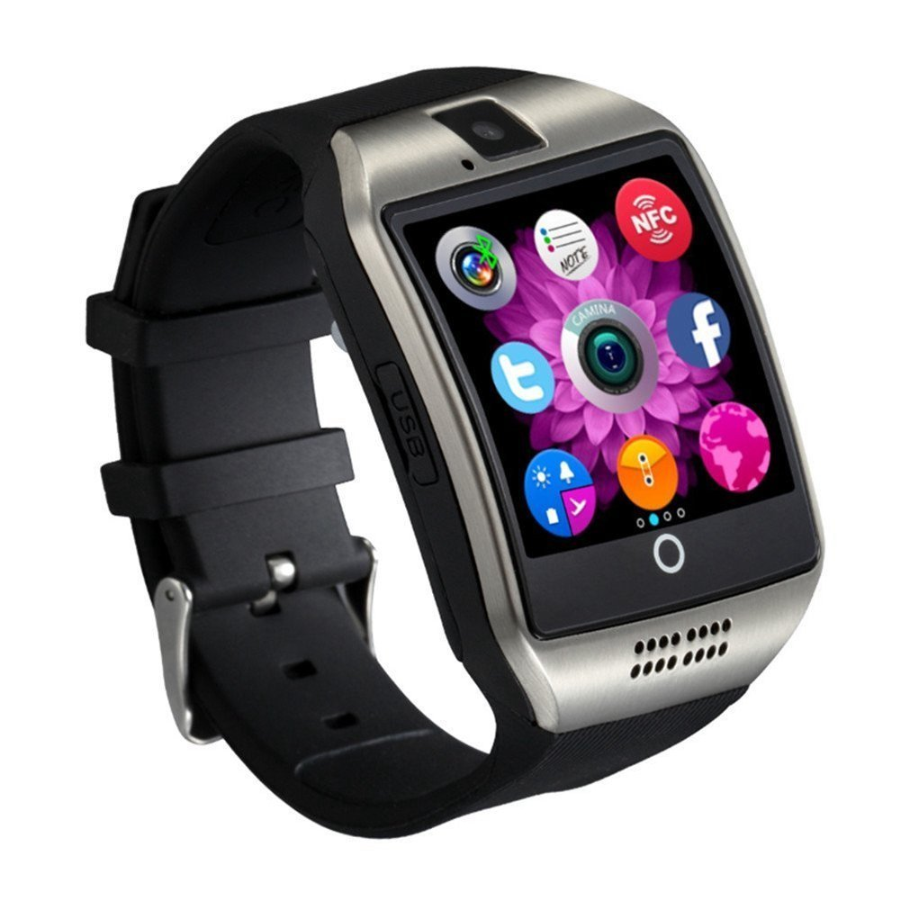 Qiufeng Q18 Smart Watch Smartwatch Bluetooth Sweatproof Phone with Camera TF/SIM Card Slot for Android and IPhone Smartphones for Kids Girls Boys Men Women(Silver)