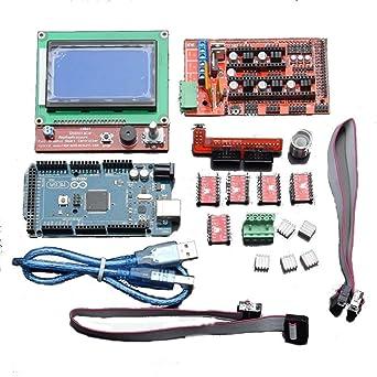 LCD 12864 RAMPS 1.4 Board 2560 R3 Kit de controlador A4988 para ...