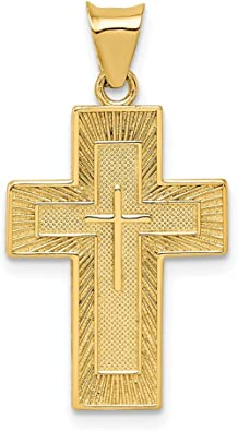14k Two-tone Gold Religious Themed Cross with Drape Charm Pendant