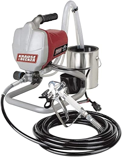 Airless Paint Sprayer Kit Krause Becker. It Is 5 8 Horsepower. Made From Lightweight Stainless Steel Metal. Easy Cleaning and Durable. Easy Twist Pressure Control by Krause Becker
