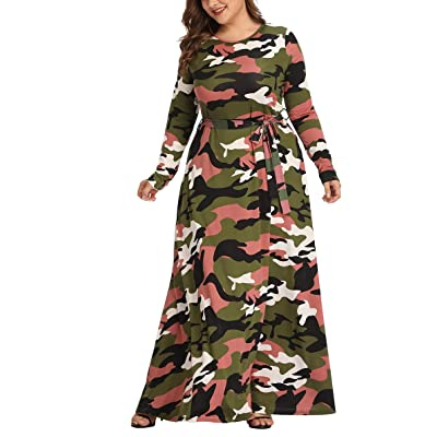 YanhongCai Women's Plus Size Dresses Camouflage Maxi Dress Long Sleeve Camo Print Dress Casual Long Dress at Women's Clothing store