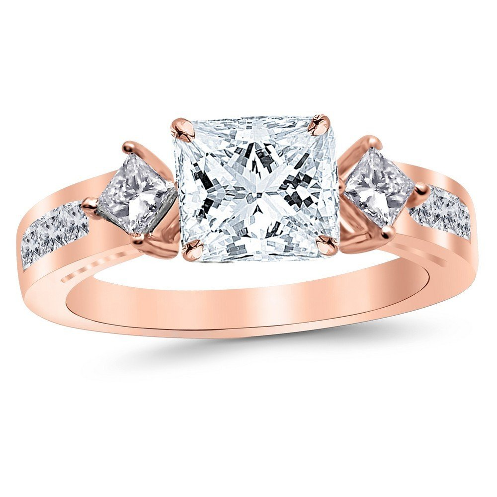 14K Rose Gold 1.44 CTW Channel Set 3 Three Stone Princess Diamond Engagement Ring w/ 0.59 Ct GIA Certified Princess Cut F Color VS2 Clarity Center