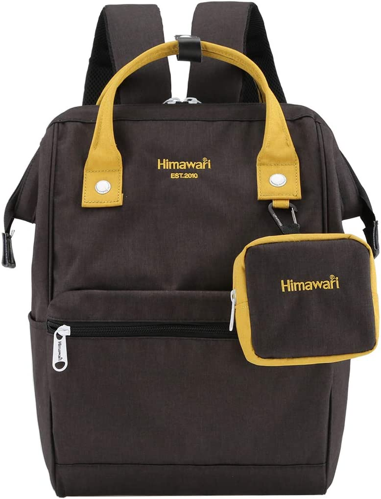 Himawari Travel Laptop Backpack for Men Women, Huge Capacity 15.6'' Computer Notebook Bag for School College Students(Black&Yellow)