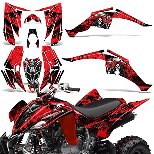 (Yamaha Raptor 350 2004-2014 Decal Graphic Kit Quad ATV Wrap Deco Racing Parts REAPER RED)