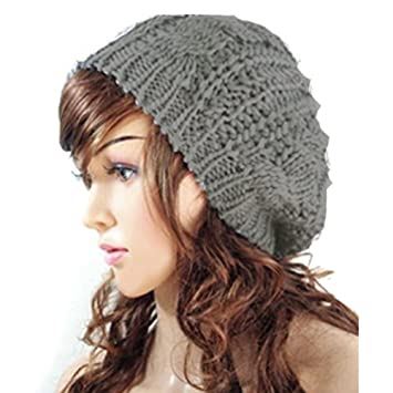 2b26dec2179d2 Amazon.com   Fashion Winter Women Lady Beret Braided Baggy Beanie Crochet  Knitting Hat Cap (Light Grey)   Beauty