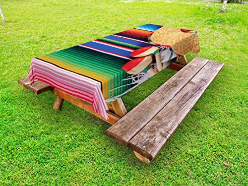 Lunarable Mexican Outdoor Tablecloth, Mexican Culture Theme with Sombrero Straw Hat Maracas Serape Blanket Rug Picture, Decorative Washable Picnic Table Cloth, 58 X 104 Inches, Multicolor 104 Rug