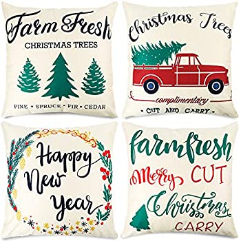 CDWERD 4pcs Christmas Pillow Covers 18x18 Inches Farmhouse Pillowcases Farm Fresh and Christmas Tree Decorative Cotton Linen Cushion Case for Home Decor