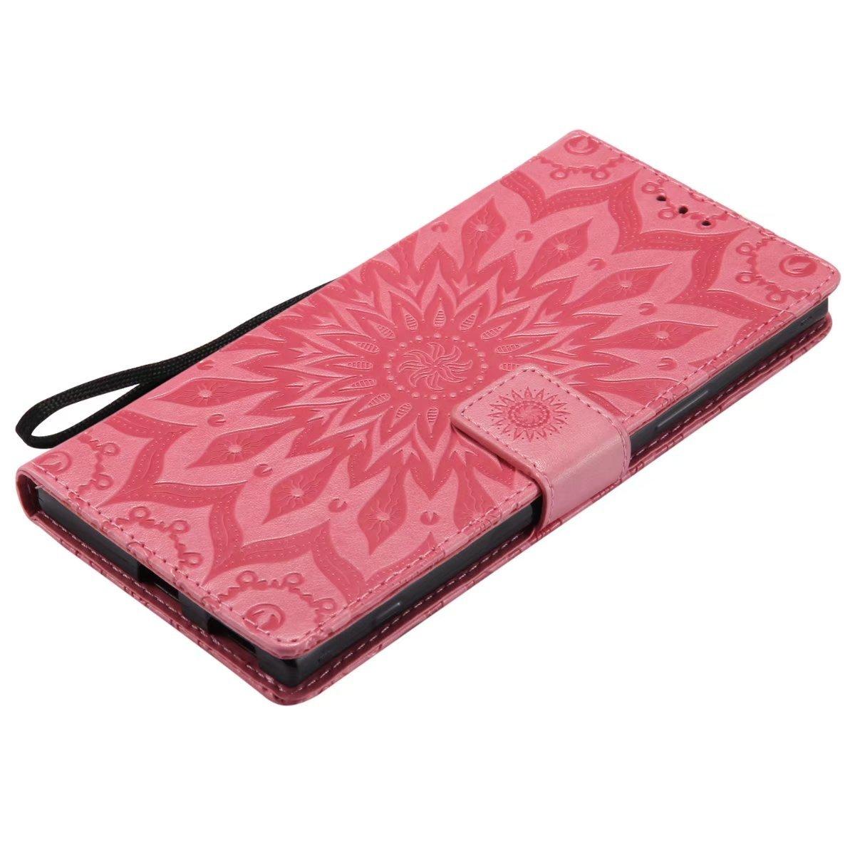 Ougger Coque pour Sony Xperia XA1 Ultra Etui Housse Flore des Fleurs Portefeuille PU Cuir Silicone Housse Etui Magn/étique Protecteur Pochette Cover avec Fente pour Carte Rose Or