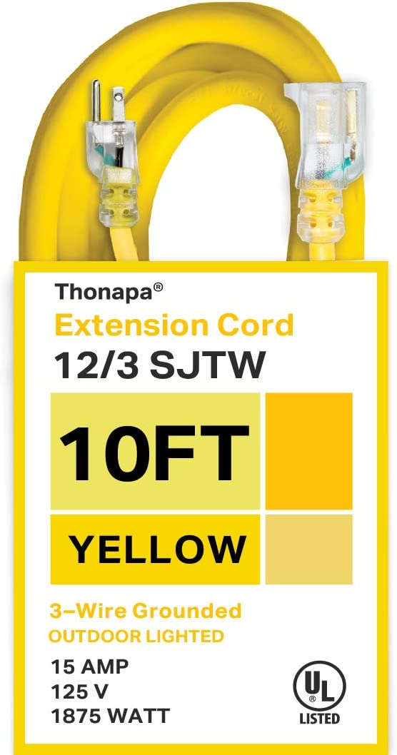 Thonapa 10 Foot Lighted Outdoor Extension Cord - 12/3 SJTW Heavy Duty Yellow Extension Cable with 3 Prong Grounded Plug for Safety - Great for Garden and Major Appliances