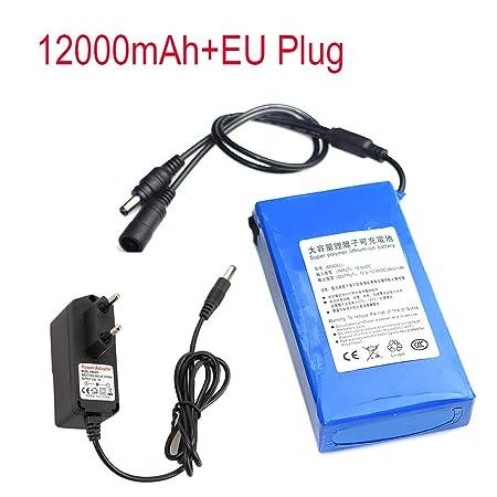 Zolimx DC 12V 6800-18000Mah Super Recargable Li-Ion Batería de Litio Pack + EU Plug (12V-12000mAh): Amazon.es: Bricolaje y herramientas