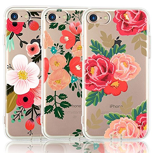 (iPhone 7 Case, iPhone 8 Case, [3-Pack] CarterLily Watercolor Flowers Floral Pattern Soft Clear Flexible TPU Back Case for iPhone 7 iPhone 8 4.7'' (Red Flowers))