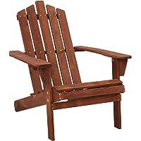 Gardeon Outdoor Furniture Beach Chair Wooden Adirondack Patio Garden Lounge-Brown