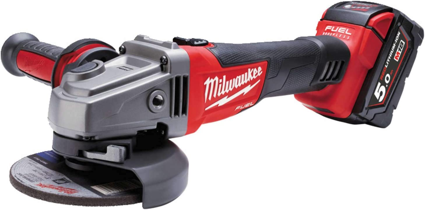 milwaukee aangle grinder m18 cag 125 x 5 0 ah 12 w 12v 2 batteries skin protection against oily and water insoluble workplace substances