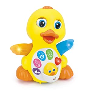 Woby Musical Flapping Yellow Duck Action Educational Learning and Walking Toy for 1 Year Old Baby Toddler Girl Boy