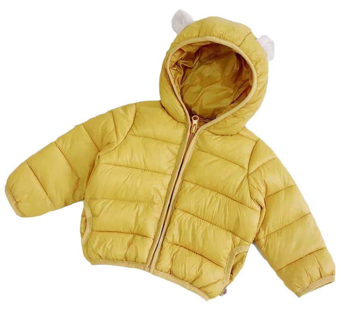 XiaoTianXinChildrenscostumes XTX Boy's Winter Pocket Quilted Zipper Hoodid Down Jacket Parka Coat Yellow 3T