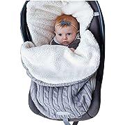 Newborn Baby Swaddle Blanket Wrap, Thick Baby Kids Toddler Knit Soft Warm Fleece Blanket Swaddle Sleeping Bag Sleep Sack Stroller Unisex Wrap for 0-12 Month Baby Boys Girls (Grey)