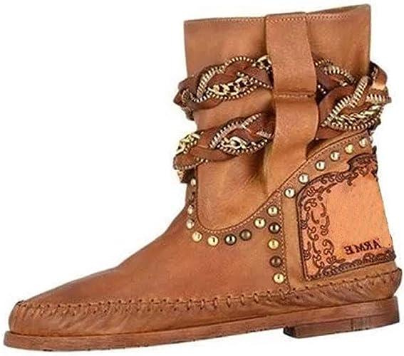 JESPER Women Retro Faux Leather Ankle Boots Flat Zipper Short Tube Casual Shoes Logger Boots
