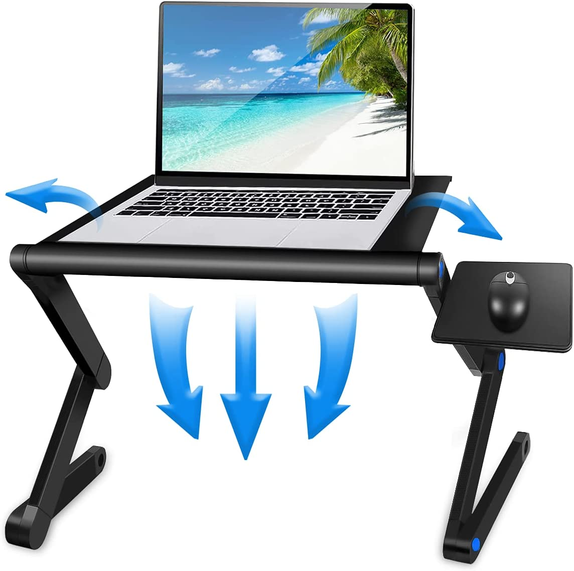 Laptop Table, Adjustable Laptop Bed Table, Laptop Computer Stand, Portable Laptop Workstation Notebook Stand Reading Holder with 2 CPU Cooling Fans and Detachable Mouse Pad in Bed Couch Sofa Office
