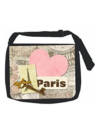 ddc41098cc Parisian Eiffel Tower Paris Themed Key Heart and Lock Print Design - Girls  Large Black Multi