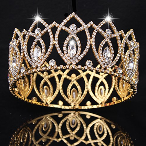 [FUMUD Pageant Full Circle Tiara Clear Austrian Rhinestones King / Queen Crown Costume Party Tiara 2.8''] (Beauty Pageant Queen Costume)