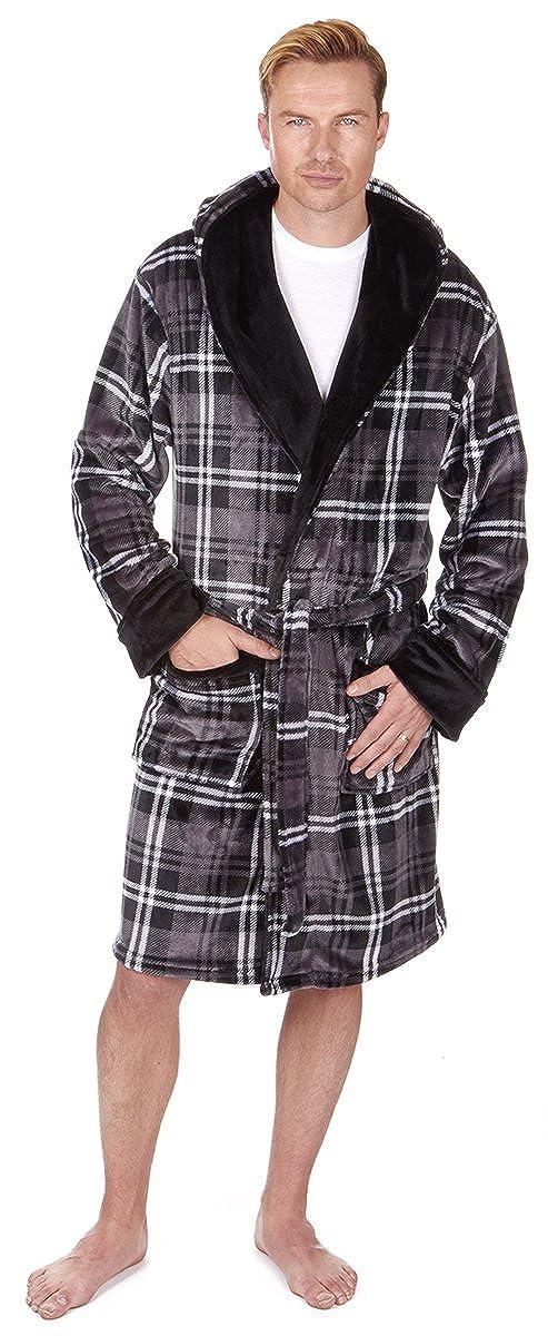 PIERRE ROCHE Mens Hooded Flannel Fleece Dressing Robe at Amazon ...