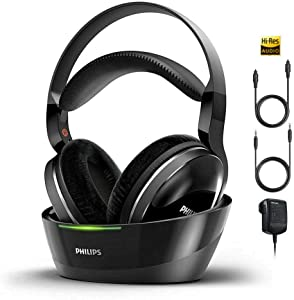 PHILIPS Wireless Headphones for TV Watching Over Ear Stereo Headset High Resolution Home Cinema Sound Audio 2.4GHz RF Transmitter Wired Connection with Charging Dock