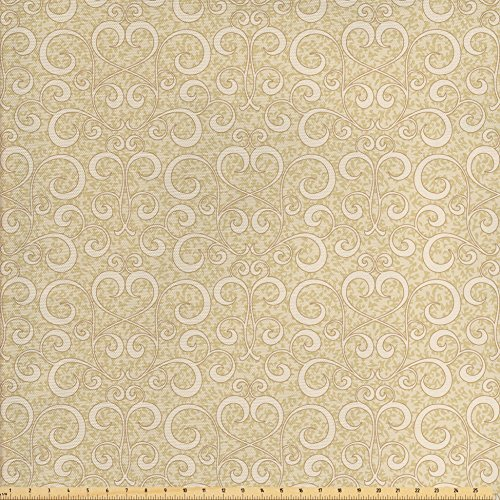 Outdoor Quilt Patterns (Ambesonne Beige Decor Fabric by the Yard, Unusual Swirled Floral Patterns Oriental Asian Style Ethnic Motifs Boho Decorative Home, Decorative Fabric for Upholstery and Home Accents, Beige)