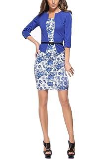 Vestiti Donna Eleganti Matita Abito Corti Ufficio Business Abiti Mini  Stampati Floreale Dell Anca Pacchetto 4ee57d6f373