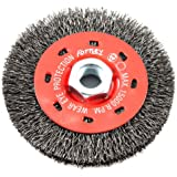Forney 72788 Wire Wheel Brush, Coarse Crimped with 5/8-Inch-11 Threaded Arbor, 4-Inch-by-.014-Inch