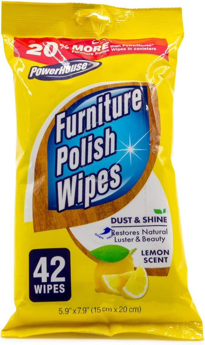 Powerhouse (42 Pack) Furniture Polish Wipes For Wood & Other Surface Protector Duster For Cleaning Shine Renew All-In-1