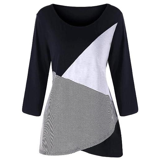 887f28743e964 Amazon.com  Clearance Sale! Oliviavan Women s Fashion Casual Plus Size Long  Sleeve Stripe O-Neck Patchwork Tops T-Shirt  Clothing
