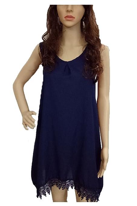 Boboking Women's Sleeveless Casual Loose T-Shirt Dress Size